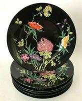 Set 6 Vintage Raynaud Limoges Dioranoir by Ceralene Black Floral Dinner Plates
