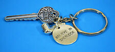 SHERLOCK HOLMES KEYCHAIN, STAINLESS STEEL KEYCHAIN, 221B AND PIPE, PENDENT, NEW