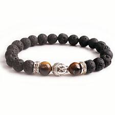 Men Yoga Bangle Natural Tiger Eye Energy Lava Stone Beads Bracelet Sliver Buddha