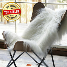 Icelandic genuine soft long wool sheepskin rug white-ivory 2 W x 3.5 L