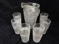 Vintage Anchor Hocking Wexford 6 Glasses 10 oz  &  64 oz Pitcher