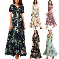 Bohemia Floral Long Maxi Dress Women's Long Sleeve V Neck Evening Party Dresses