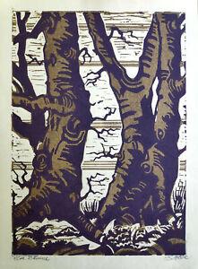 "Stobbe, H. (20. Jahrhundert)  ""Alte Bäume""  Farblinolschnitt"