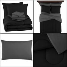 8 Piece Bed in a Bag Black Full Sheets Sham Pillowcases Comforter+Bed Skirt