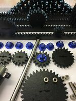 "DIY MAKER SPUR GEARS FROM BOSTON MA.1/4"" BORE 8 PITCH, HUBS, SHAFT, GEAR RACK"