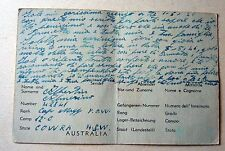 WWII POW PCARD   AUSTRALIA TO ITALY CAMP COWRA  VERY RARE 1946  6D