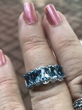 💙SGL SPECTACULAR STERLING BLUE TOPAZ RING IN A LUCKY SIZE 7 Mint👍