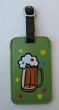 dd Beer Mug HAPPY HOUR Luggage Tag ID holder Vegan Leather travel bag Ganz