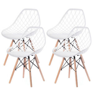 New Modern Style Plastic DSW Shell Dining Chair and Wooden Dowel Eiffel Legs