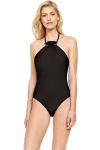 GOTTEX 8 (S) 10 (M) 12 (M-L) Grace Kelly Black High Neck One Piece Swimsuit $178