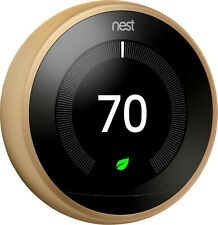 Google Nest 3rd Generation Learning Thermostat: T3032US Brass / Gold w/ Base B