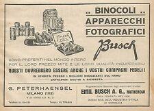 Z0558 Binocoli e apparecchi fotografici BUSCH - Pubblicità del 1930 - Advertis.