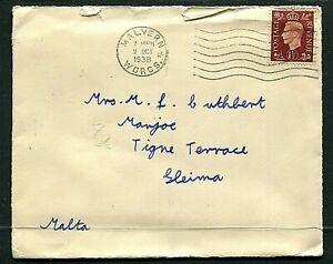 GB 1½d KGVI cover (entire) Malvern to Malta 9OCT1938