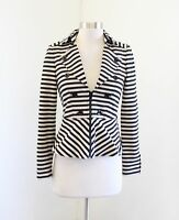 White House Black Market Tan - Beige Black Striped Zip Front Blazer Jacket Sz 00