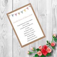 Personalised Handmade Wedding Invitations Invites Day Evening Vintage x 50 AW2