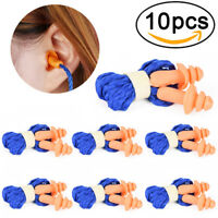 10Pcs Soft Silicone Corded Ear Plugs Reusable Hearing Protection Earplugs  OZ