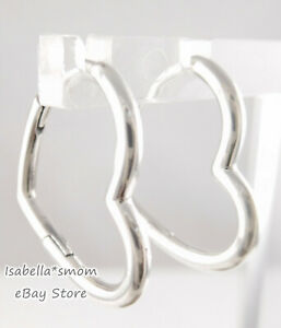 ASYMMETRICAL HEART Authentic PANDORA Silver Earring HOOPS 298307C00 NEW w POUCH!