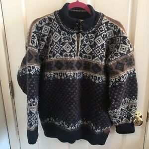 Dale Of Norway Gore Windstopper Lined Wool Sweater Large Navy Brown