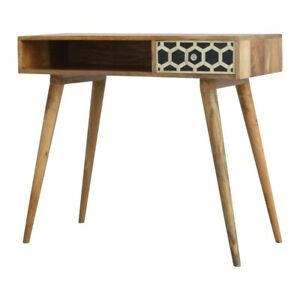Art Deco Style  Writing Desk Console Table Open Shelf 100% Solid Wood Bone Inlay