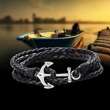1x multicapa pulsera de cuero Negro trenzado pulseras regalo caliente ancla OP