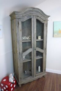 Rustic Farmhouse Style Display Cabinet - Large Cabinet In Weathered Oak Finish