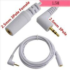 Stereo 2.5mm Male 90 Degree angle  to 2.5mm Female Jack Audio Cable  1.5m