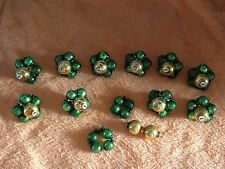 10 + 2 Vtg Wire Beaded Double Ended Balls Clusters Mercury Christmas Ornaments