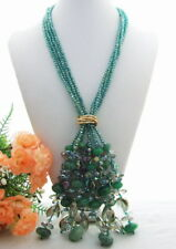 "4 Strands Green Agate Crystal Fringe  Necklace 21"" free shipping"