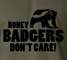 HONEY BADGERS DON'T CARE T-Shirt Animal Wild Brave Vs Cobra College School Tee