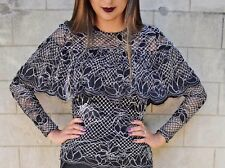 BLOGGERS FAV!!! ZARA BLACK PRINTED SEMI-SHEER LACE TOP BLOUSE WITH FRILL SIZE M