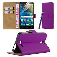 Wallet Flip Book Leather Card Case Cover Pouch for Various Mobile PHONES Purple Alcatel Pop 4 (5.0)
