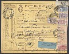 STORIA POSTALE REGNO 1926 Pacchi Postali 3L da Minervino M. a Francia (E7)