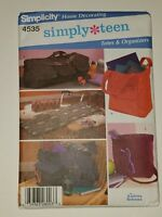 simplicity home decorating pattern #4535 SIMPLY TEEN Totes & Organizers UNCUT