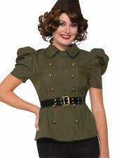 1940S Militar Mujer Adulto Verde Militar Disfraz Shirt-Std