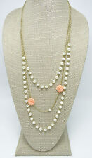 New Retro Simulated Pearl & Peach Roses on Gold Chain Necklace #N2598