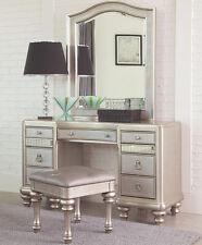 GLAM METALLIC PLATINUM MIRRORED VANITY DRESSING TABLE SET MIRROR & STOOL BENCH