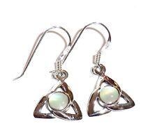 Perlmutt Ohrhänger keltischer Knoten Ohrringe Weiß 925 Sterling Silber Neu