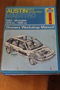 Austin Maestro MG & Vanden Plas 1983 all models 1275cc 1598cc Haynes Manual 922