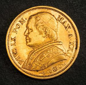 1867, Vatican, Pope Pius IX. Beautiful & Scarce Gold 20 Lire Coin. 6.44gm!