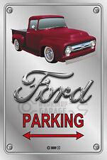 Parking Sign - Metal - Ford F100 - 1955 - 1956 - ORIGINAL - CRIMSON RED  TRUCK