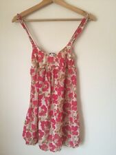 Cosabella Pink Floral Lined Strappy SummerTop Size 8 <T3704