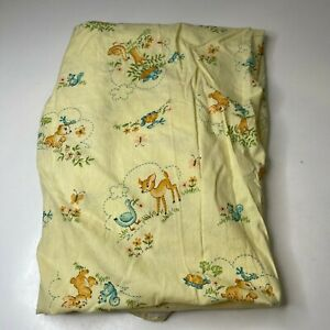 vintage crib fitted sheet yellow deer birds bunny forest turtle