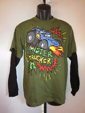 New Monster Trucker Youth size Large (L 14/16) Green Shirt w/Black Sleeves