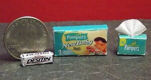 Dollhouse Miniature Baby Diapers Box & Wipes 1:12 in scale pnb B1 Dollys Gallery