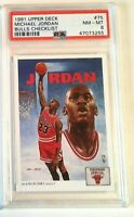 MICHAEL JORDAN 1991 UPPER DECK PSA 8 #75 COLLECTORS CHOICE ART CHECKLIST CARD