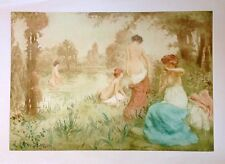 Original Manuel Robbe Signed Color Etching with Aquatint The Bathers1900