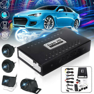 360° Bird View Panoramic System 4 Camera Car DVR Recording Parking Rear View &