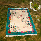 YILONG 4'x6' HandKnotted Chinese Art Deco Silk Carpet Vintage Home Decor Rug