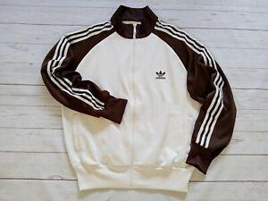 RARE Vintage 2004 Adidas Men's Full Zip Firebird Track Jacket Brown Cream L/XL