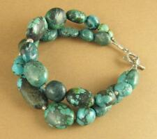 Turquoise chunky double bracelet. Real stone. Sterling silver 925. Handmade.